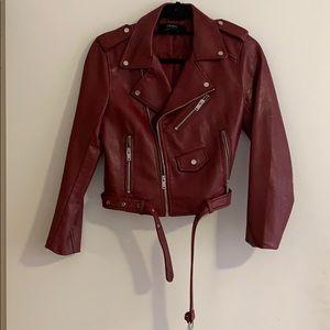 Zara Maroon Leather Jacket